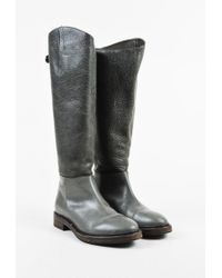 Brunello Cucinelli - Multicolor Gray Leather Bi Textured Knee High Riding Boots - Lyst