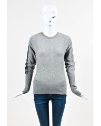 Reed Krakoff - Gray Cashmere Open Knit Leather Trim Ls Sweater - Lyst