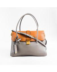 2273a219aa90 Miu Miu Gray Brown Grain Leather Two Tone