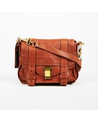 "Proenza Schouler - Brown Calfskin Leather Mini Top Handle ""ps1"" Satchel Bag - Lyst"