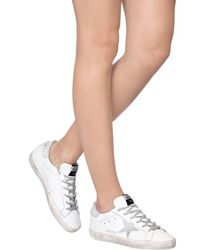 Golden Goose Deluxe Brand - White 20mm Super Star Leather Glitter Sneakers - Lyst