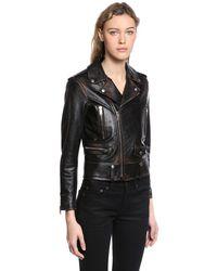Saint Laurent - Black Printed Distressed Nappa Leather Jacket - Lyst