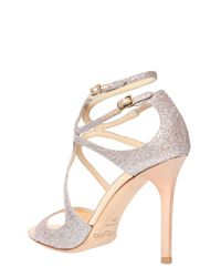 Jimmy Choo | Multicolor 100mm Lang Glittered Sandals | Lyst