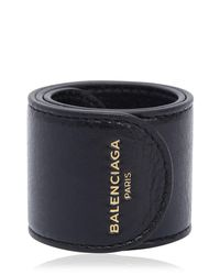 Balenciaga - Black Cycle Leather Slap Bracelet for Men - Lyst