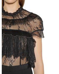 Self-Portrait - Black Fine Lace & Crepe Cropped Jumpsuit - Lyst