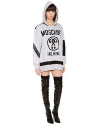 Moschino - Gray Hooded Logo Sweatshirt Dress - Lyst