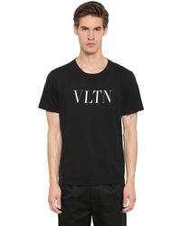 Valentino - Black Vlnt Print Cotton Jersey T-shirt for Men - Lyst