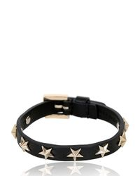 RED Valentino | Black Leather Bracelet W/ Star Studs | Lyst