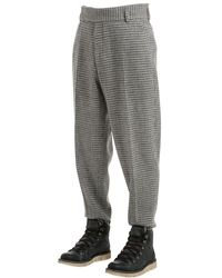 Z Zegna - Gray 19cm Wool Blend Houndstooth Pants for Men - Lyst