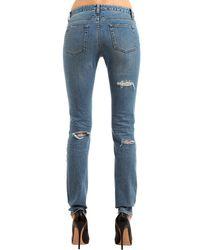 Saint Laurent - Blue Mid-rise Destroyed Cotton Denim Jeans - Lyst