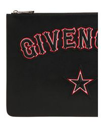 Givenchy - Black Large Gothic Logo Patches Leather Pouch - Lyst