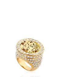 Versace - Metallic Medusa Ring W/ Crystals - Lyst