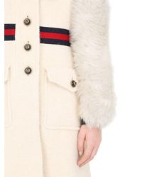 Gucci - White Wool Coat W/ Brushed Wool Sleeves - Lyst