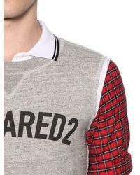 DSquared² | Gray Pique Polo W/ Jersey & Plaid Details for Men | Lyst