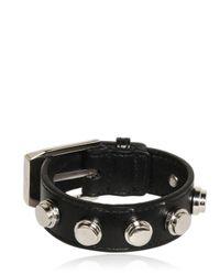 Saint Laurent | Black Buckled Leather Bracelet | Lyst