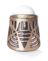 House of Malakai - Metallic Labyrinth Leather Visor Mask - Lyst