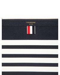 Thom Browne - Blue Small Zipper Pebbled Leather Pouch for Men - Lyst