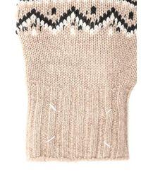 Maison Margiela - Natural Fingerlose Handschuhe Aus Wolljacquardstrick for Men - Lyst