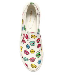 Au Jour Le Jour - White Lips Cotton Canvas Slip-on Sneakers - Lyst