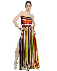 DSquared² | Multicolor Striped Silk Satin Dress | Lyst