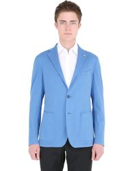 Tagliatore - Blue Stretch Heavy Cotton Poplin Jacket for Men - Lyst