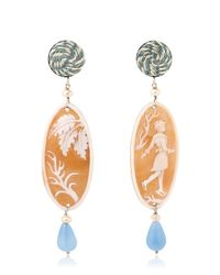 Anna E Alex | Orange Ice Skating Cameo Earrings | Lyst