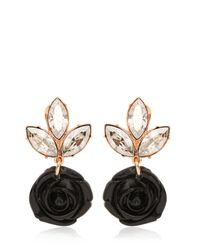 Mawi | Black Rose & Crystal Drop Earrings | Lyst