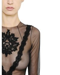 Francesco Scognamiglio - Black Embroidered Sheer Stretch Tulle Top - Lyst