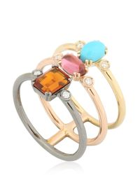 Roberto Marroni | Metallic Happy Queen Color Three Band Ring | Lyst
