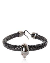 Alexander McQueen | Black Skull Woven Leather Bracelet for Men | Lyst
