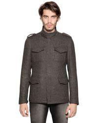 Etro | Gray Wool Jacquard Military Coat for Men | Lyst