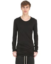 Rick Owens - Black Double Cotton Jersey Long Sleeve T-shirt for Men - Lyst