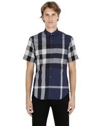 Burberry Brit | Blue Macro Check Cotton Short Sleeve Shirt for Men | Lyst
