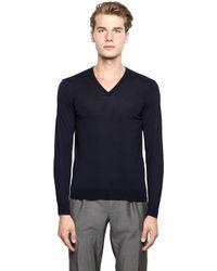 Drumohr | Blue Extra Fine Merino Wool V Neck Sweater for Men | Lyst
