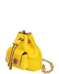 Moschino - Yellow Mini Ponyskin Backpack - Lyst