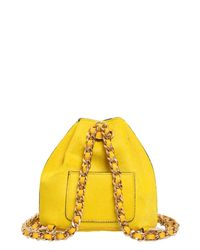 Moschino - Yellow Mini Ponyskin Backpack - Lyst
