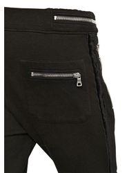 Balmain - Black Cotton Jogging Pants With Velvet Piping - Lyst