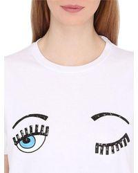 Chiara Ferragni - White Flirting Sequined Cotton T-shirt - Lyst