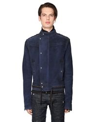 Diesel Black Gold | Blue Lace-up Waxed Suede Moto Jacket for Men | Lyst