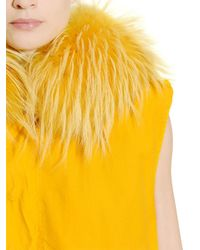 Mr & Mrs Italy - Yellow Cotton Canvas Vest With Murmansky Fur - Lyst