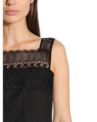 Charo Ruiz - Black Cotton Voile & Lace Dress - Lyst