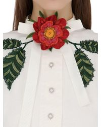 Gucci | White Embellished Washed Cotton & Linen Dress | Lyst
