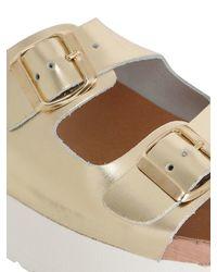 KG by Kurt Geiger - White 60mm Nola Metallic Leather Slide Sandals - Lyst