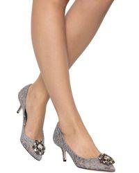 Dolce & Gabbana - Gray Bellucci Lace 60mm Pumps - Lyst
