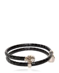 Alexander McQueen - Black Skull Leather Covered Wrap Bracelet for Men - Lyst