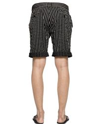 DIESEL - Black Pinstriped Cotton Dobby Shorts for Men - Lyst