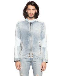 DIESEL - Blue Washed Denim Effect Cotton Jacket for Men - Lyst