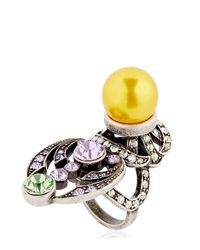 Mawi | Yellow Crystal & Imitation Pearl Ring | Lyst