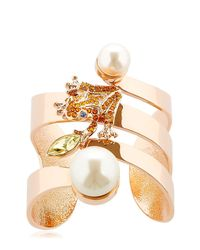 Mawi | Metallic Frog Cuff Bracelet With Imitation Pearls | Lyst