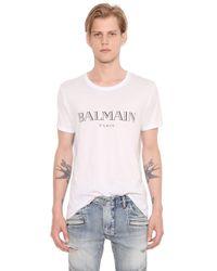 Balmain | White Logo Printed Cotton Jersey T-shirt for Men | Lyst